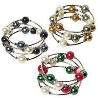 Women's Lustrous Glass Bead Memory-Wire Bracelet