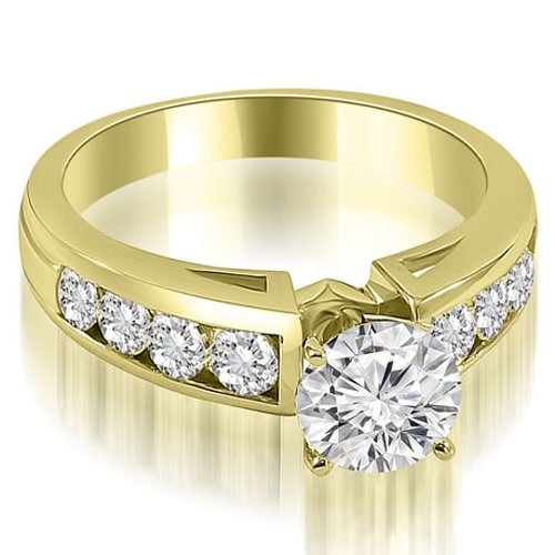 1.55 cttw. 14K Yellow Gold Classic Channel Round Cut Diamond Engagement Ring