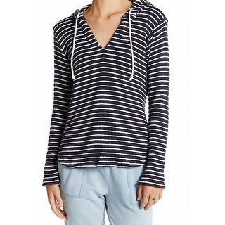 Splendid NEW Navy Blue White Womens Size Small S Striped Hooded Sweater