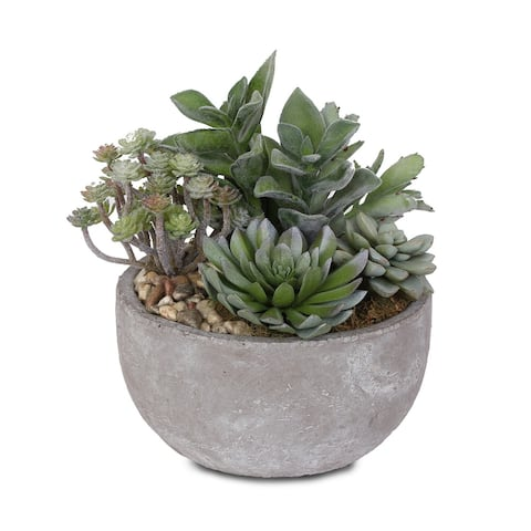 Artificial Succulents with Natural Pebbles in Cement Bowl - 9W x 9D x 10H