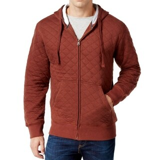Weatherproof NEW Rum Red Mens Size Large L Zip-Up Quilted Hoodie Sweater
