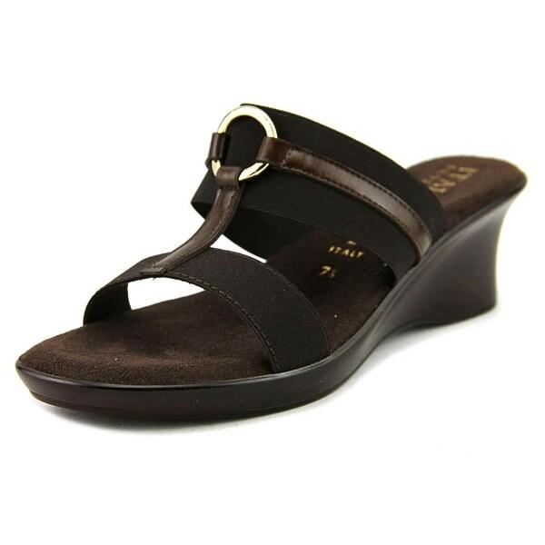 Italian Shoe Makers Bess Women Open Toe Canvas Brown Wedge Sandal