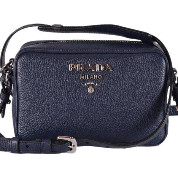 fcad688baafc Prada 1BH096 Baltico Blue Leather Bandoliera Small Crossbody Purse Bag