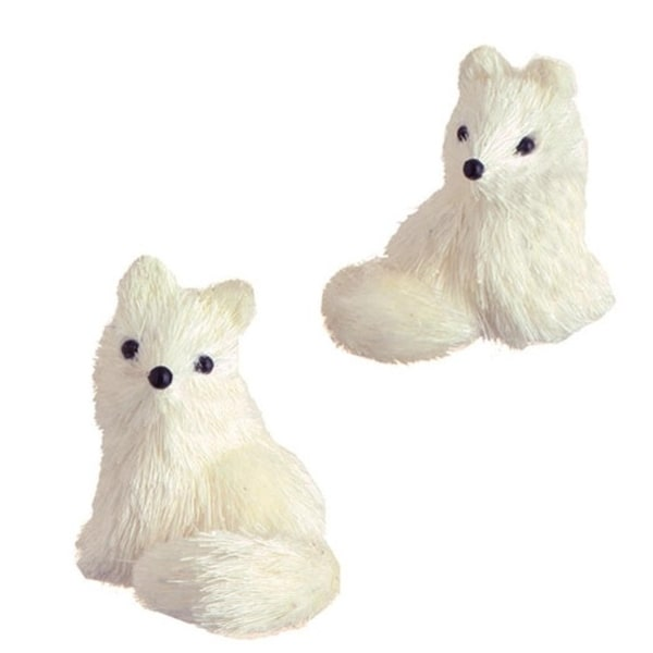 """3"""" Snowy Time Dried Grass Right Side Cream Fox Christmas Ornament"""