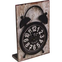 """13"""" Distressed Parisian Inspired Three Dimensional  Pop Out Vintage Twin Bell Style Table Clock"""