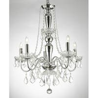 Elegant 5 Light Chrome & Crystal Chandelier Pendant