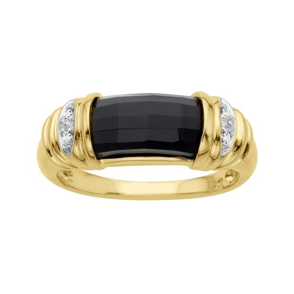 2 3/4 ct Onyx Ring with Diamonds in 14K Gold