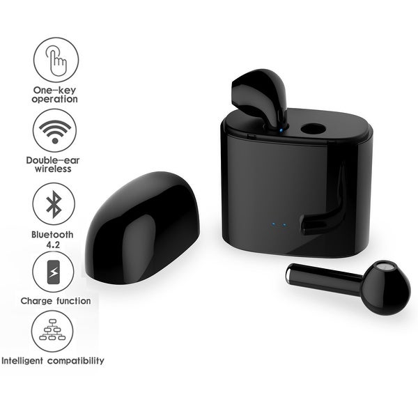 Indigi® Universally Compatible Stereo Bluetooth 4.2 Wireless EarPod Headset (Black) - Charging Case Included