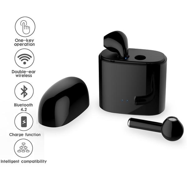Wireless Black Bluetooth 4.2 True Stereo Sync EarPod Headphones by Indigi® - Charging Case Included