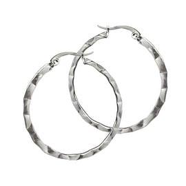 Loralyn Designs Hammered Stainless Steel Hoop Earrings