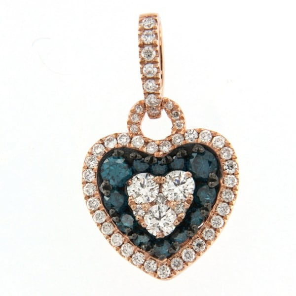 Prism Jewel 0.77Ct Blue Color Diamond & Side Diamond Valentine Heart Shaped Pendant, 10k Rose Gold