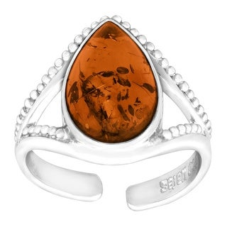 Sajen Natural Amber Teardrop Ring in Sterling Silver - Orange