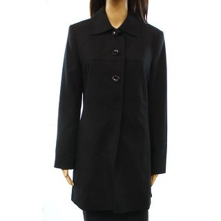 Larry Levine NEW Deep Black Solid Women's Size Small S Basic Coat