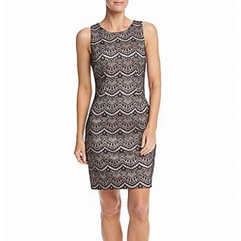 Jessica Simpson Black Pink Blush Womens Size 4 Lace Sheath Dress