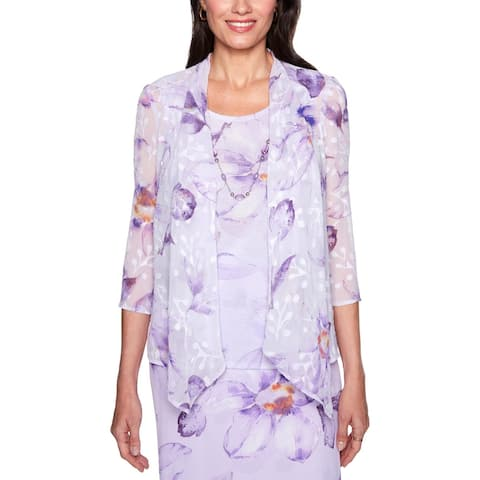 Alfred Dunner Womens Twinset Sheer Floral