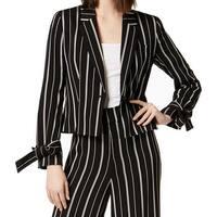 Nine West Black White Womens Size 4 Striped Tie-Cuff Blazer Jacket