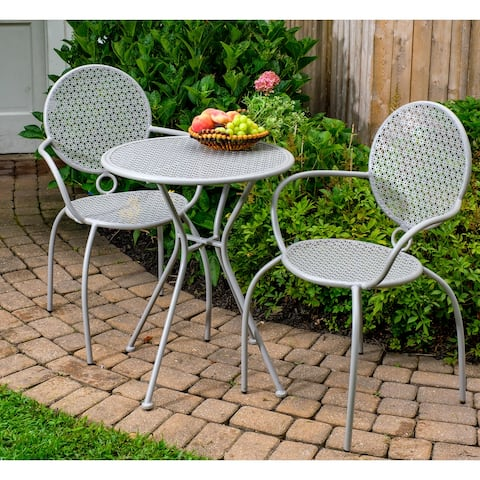 """Martini 3 Piece Bistro Set, 24""""Rd Table, 2 Stackable Bistro Chairs, Grey - 24"""" Round Bistro Table"""