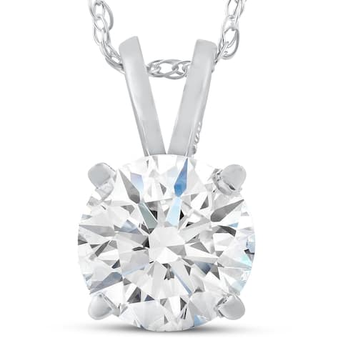 "Pompeii3 14k White Gold 1 1/2 Ct Moissanite Solitaire Pendant Womens Necklace & 18"" Chain"