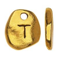 Gold Plated Lead-Free Pewter, Pebble Alphabet Charms Letter 'T' 8x9mm, 10 Pieces, Antiqued Gold