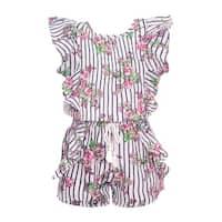 Real Love Little Girls Navy Stripe Floral Print Ruffle Tassel Romper