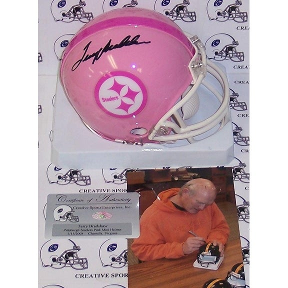 Terry Bradshaw Hand Signed Steelers Pink Mini Helmet  PSADNA