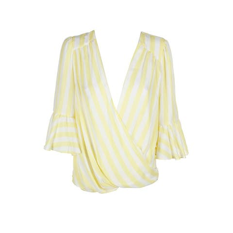 Inc International Concepts Yellow White Ruffled Bell-Sleeve Surplice Blouse L