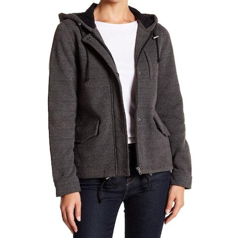 Sebby Gray Women's Size Large L Hooded Full-Zip Fleece Jacket