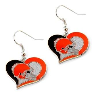 Cleveland Browns Swirl Heart Earring NFL Dangle Logo Charm Gift