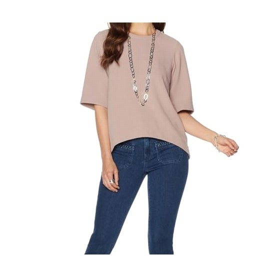 7f9497962 Shop Melissa McCarthy Seven7 NEW Brown Womens Size Large L Hi-Low Blouse -  Free Shipping On Orders Over $45 - Overstock - 19219792