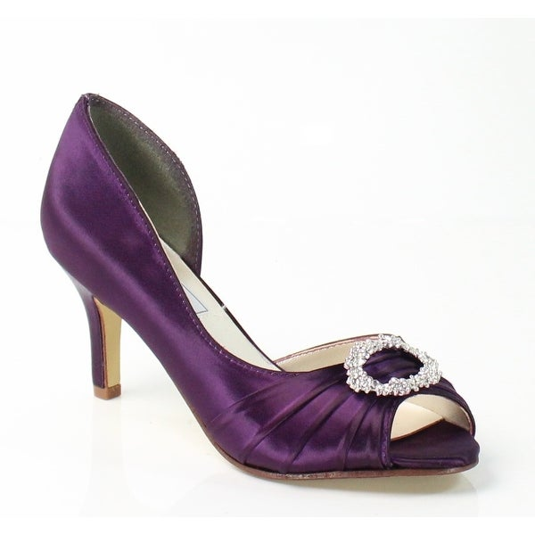 Touch Ups NEW Purple Olivia Satin Shoes Size 5M Open Toe Heels