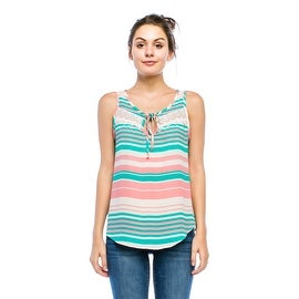 Simply Ravishing Women's Front Tie Stripe Tank Top w/ Lace Trim (Size: S - 3X)