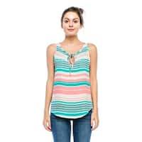 Simply Ravishing Women's Front Tie Stripe Tank Top w/ Lace Trim (Size: S - 3X)