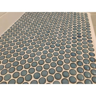 SomerTile 12x12.625-in Penny Marine Porcelain Mosaic Floor and Wall Tile (10/Case, 10.2 sqft.)
