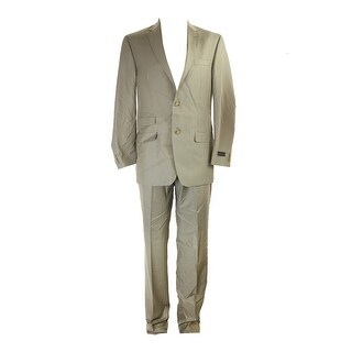 Sean John Tan Solid Classic-Fit Pc Suit R-W - 38r-32w
