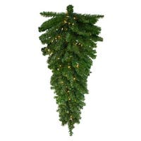 "42"" Pre-Lit Canadian Pine Artificial Christmas Teardrop Swag - Clear Lights - Green"