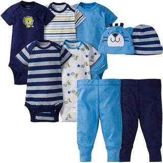Gerber Baby Boy 6 Pcs Gown Cap (0-6M), and Sleep'n Play (0-3M) Gift Set Newborn - Safari