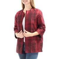 ANNE KLEIN Womens Red Embroidered Blazer Jacket  Size: 4