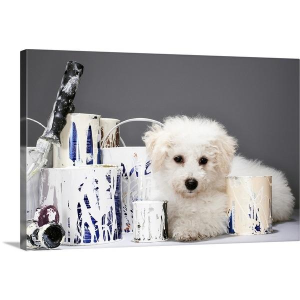 """Puppy sitting amongst paint tins"" Canvas Wall Art"