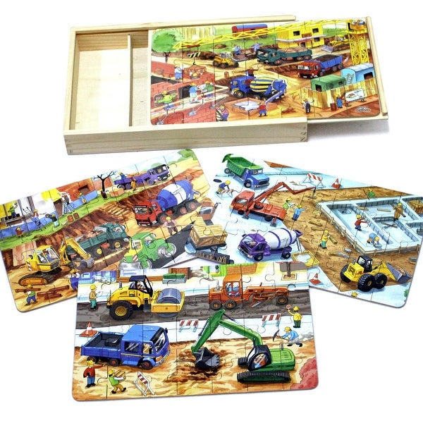 Shop Timy 4 In 1 Wooden Jigsaw Puzzle For Kids Engineering Vehicles