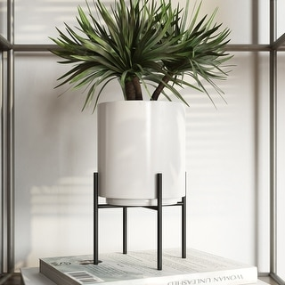 """Link to Jodi Mid Century Table-top Planter - White - 7.5""""H x 4.5""""W x 4.5""""D (Inside pot: 4.5""""H x 3.75""""W) Similar Items in Planters, Hangers & Stands"""