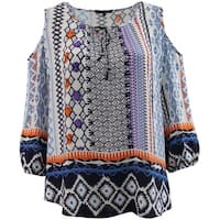 Women - Plus Size Cold Open Shoulder Summer Casual Blouse Knit Top Tribal Print