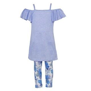 Little Girls Blue Off-Shoulder Ruffle Overlay Floral 2 Pc Legging Set