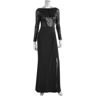 Lauren Ralph Lauren Womens Oleanne Sequined Long Sleeves Evening Dress