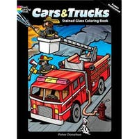 Cars & Trucks Stained Glass Book - Dover Publications