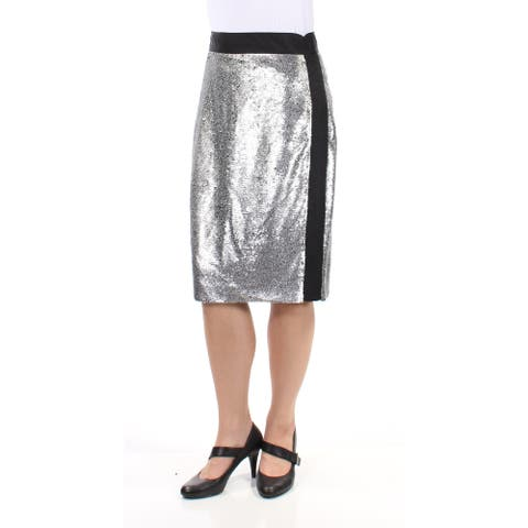 BAR III Womens Silver Sequined Knee Length Pencil Party Skirt Size 8