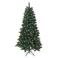 6' Pre-Lit Pine Artificial Christmas Tree with Multi-Colored LED Lights - green