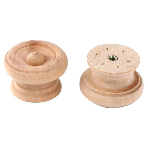 "Uxcell Home Furniture Wooden Round Carved Drawer Handle Grip Pull Knob 40mm Dia 2pcs - 38 x 26mm/1.5"" x 1""(D*H)"