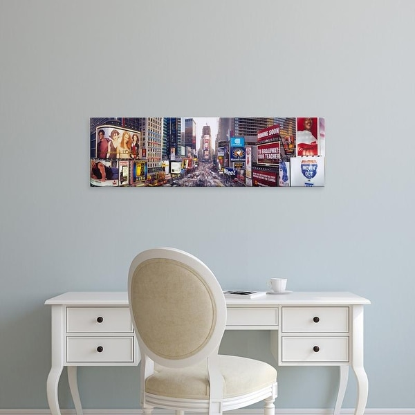 Easy Art Prints Panoramic Images's 'Dusk, Times Square, NYC, New York City, New York State, USA' Premium Canvas Art