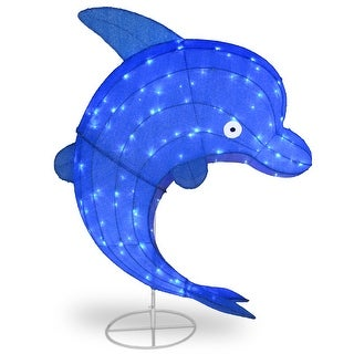 """40"""" LED Blue Sisal Dolphin Outdoor Decoration"""