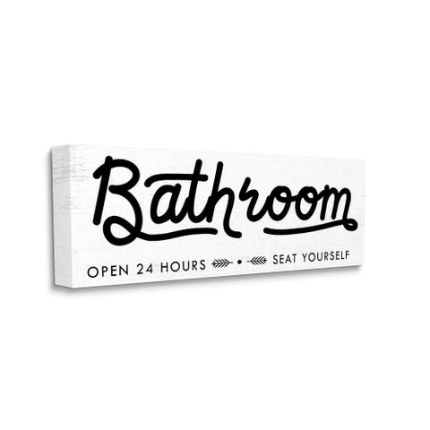 Stupell Industries Seat Yourself Bathroom Sign Minimal Black White Canvas Wall Art